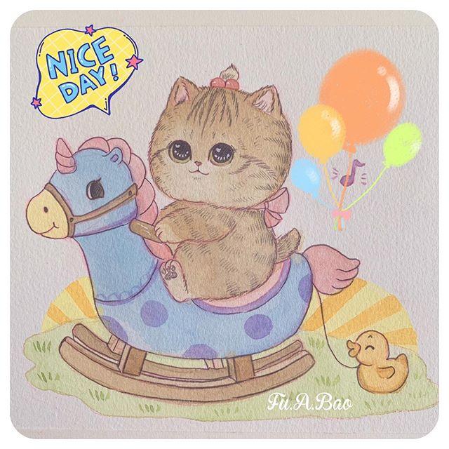 Ilustración kawaii de gatito naranja montado en una caballito