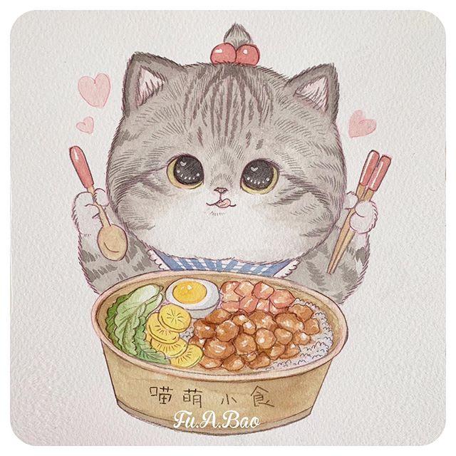 Ilustración de gatito gris comiendo ramen