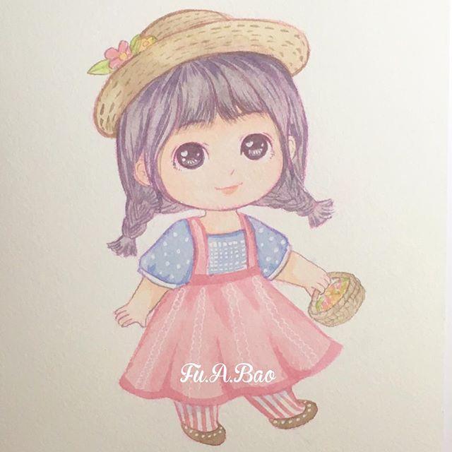 Ilustración kawaii de niña con trenzas y una canasta