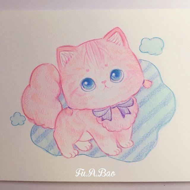 Ilustración de gatito rosa kwaii