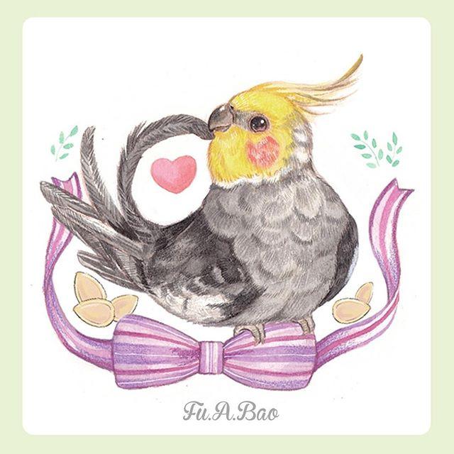 Ilustración kawaii de pajarito