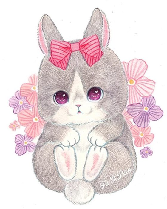 Ilustración kawaii de conejito con un moño rosa en la cabeza