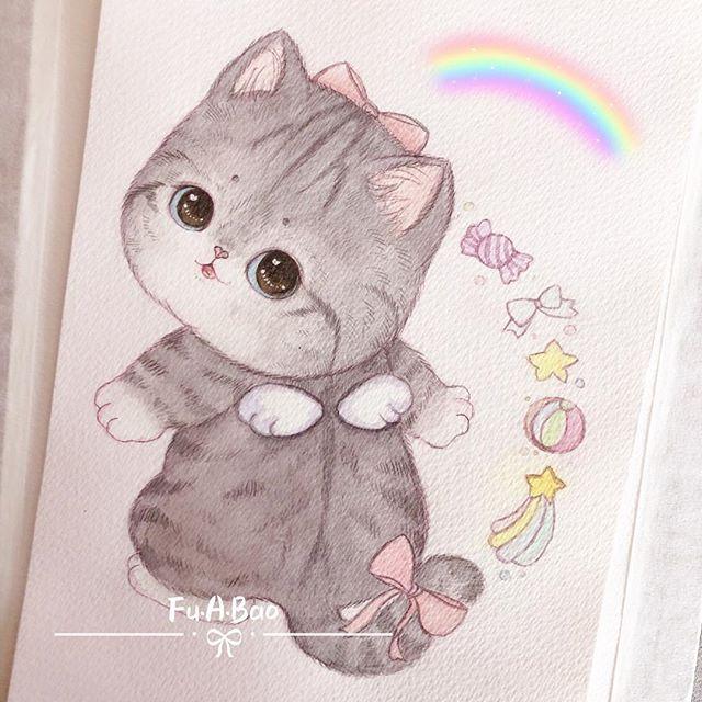 Ilustración kawaii de gatita con moño rosa y alas