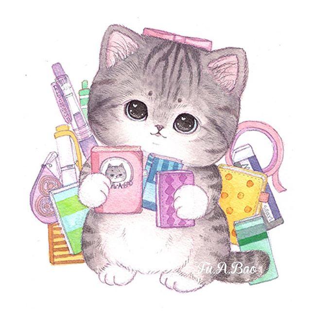 Ilustración kawaii de gatita con moño rosa