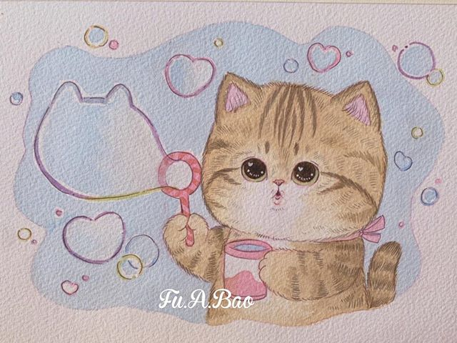 Ilustración kawaii de gatito naranja haciendo burbujas de jabón
