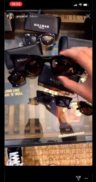 Insta storie de Yuya sobre los lentes Hillman Eyewear