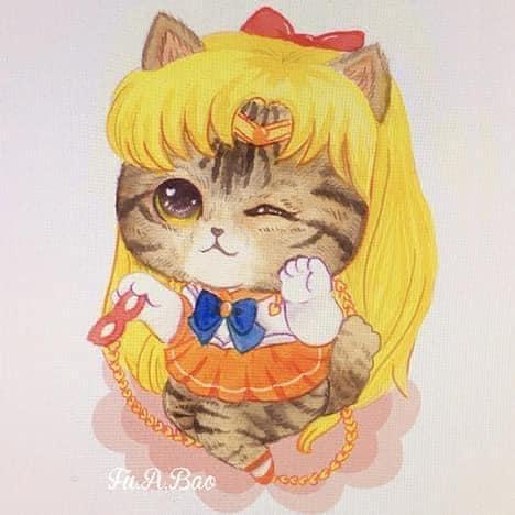 Ilustración Sailor moon kawaii de gatitos