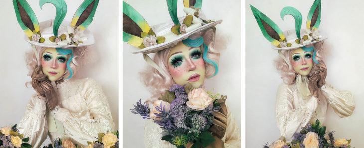 Drag Queen C-PHER usando el cosplay del pokémon Leafeon