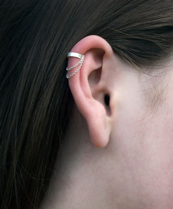 fake triple hoop earring, piercing simulator, for ear