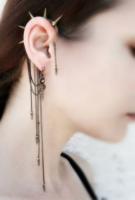 fake earring with chains, piercing simulator, for ear