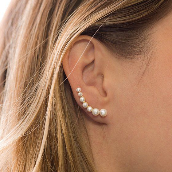 fake earring with pearls, piercing simulator, for ear
