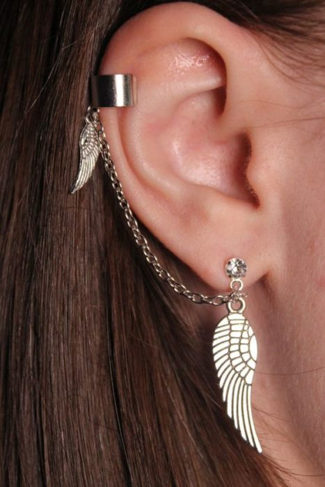 fake piercing simulator feather earring, for ear