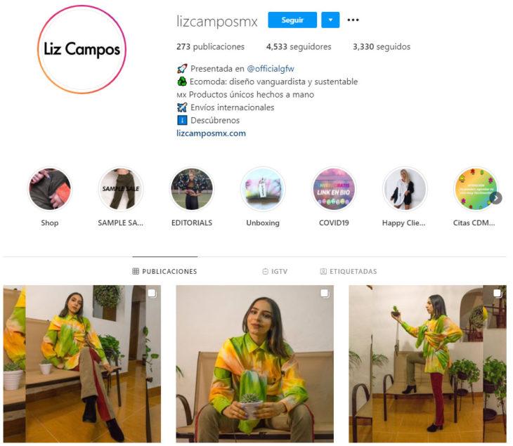 Perfil de instagram de la marca de ropa mexicana Liz Campos