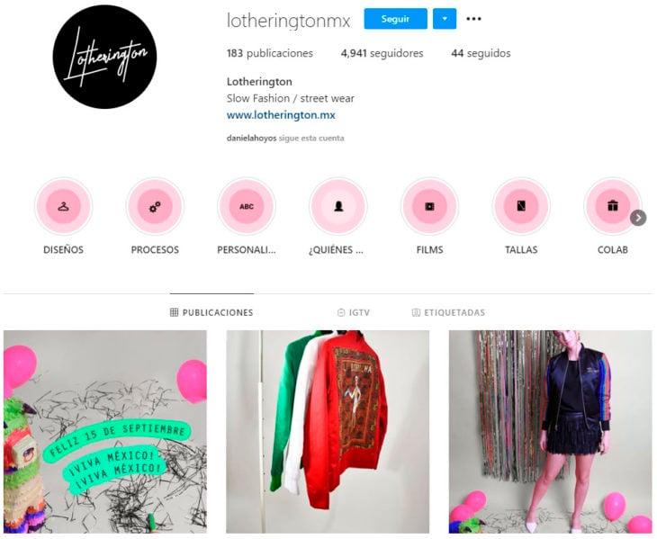 Perfil de instagram de la marca de ropa mexicana Lotherington
