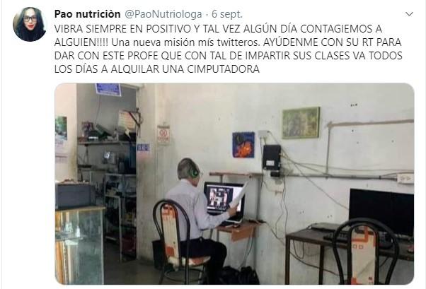 Tuit buscando a maestro que imparte clases desde cibercafé