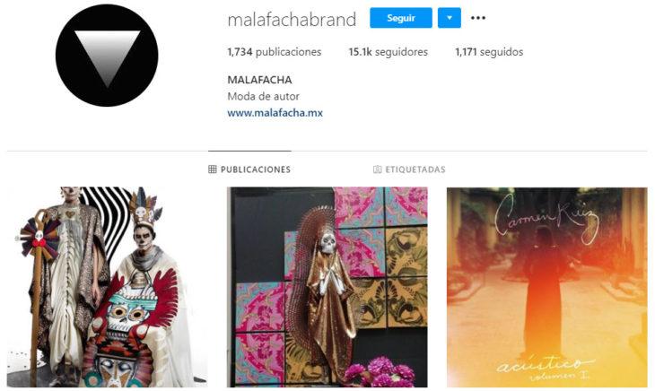 Perfil de instagram de la marca de ropa mexicana Malafacha