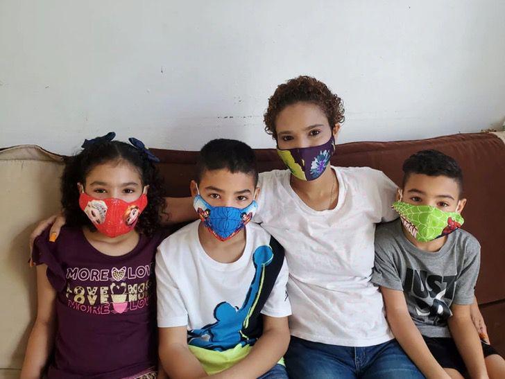 Nadia Rivera Méndez y sus hijos