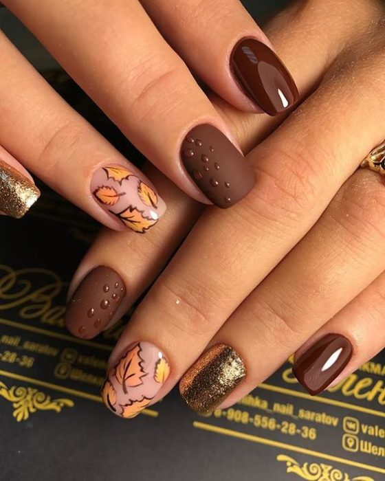 Brown manicure with matte effect