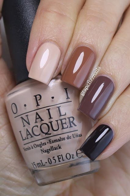 Manicure in a range of brown tones