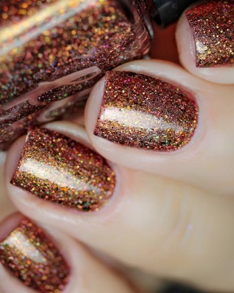 Coffee glitter manicure