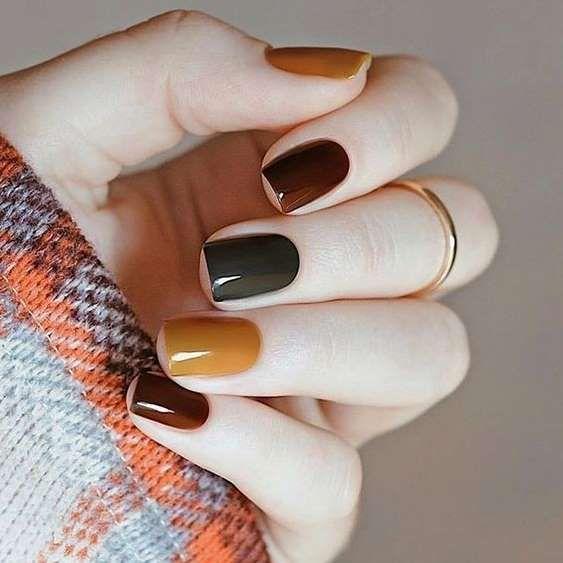 Manicura en colores otoñales