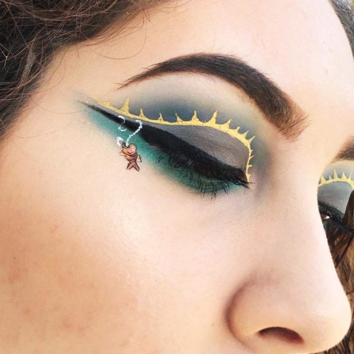 Maquillaje de ojos pez en anzuelo