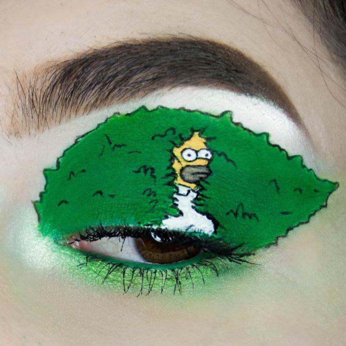 Maquillaje de ojo Homero en el arbusto