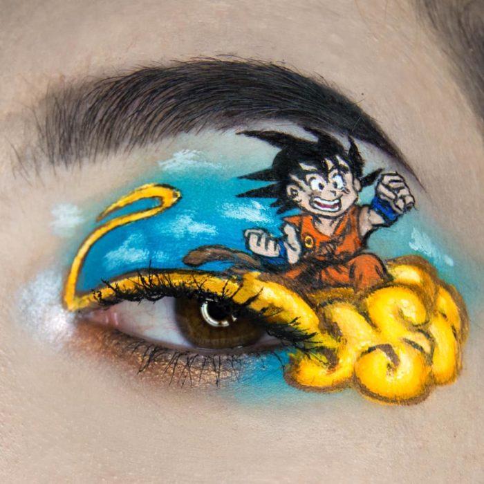 Maquillaje de ojos de goku