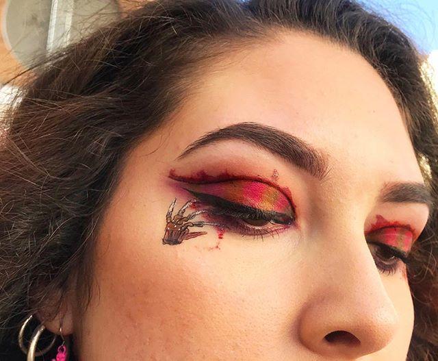 Maquillaje de ojos mano de freddy krueger
