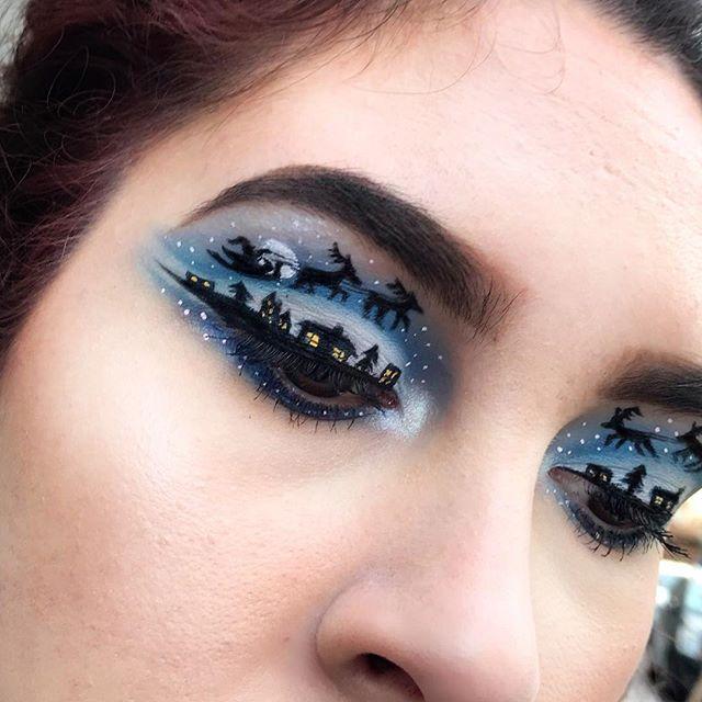 Maquillaje de ojos de trineo de santa