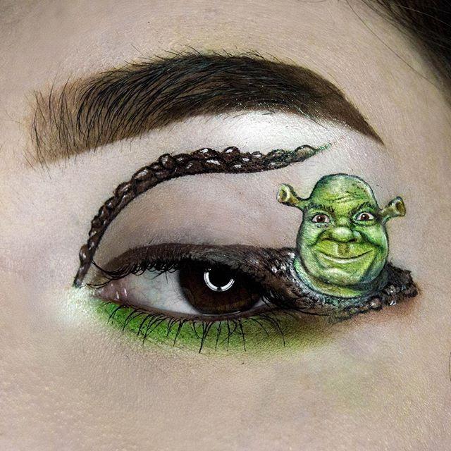 Maquillaje de ojos de shrek