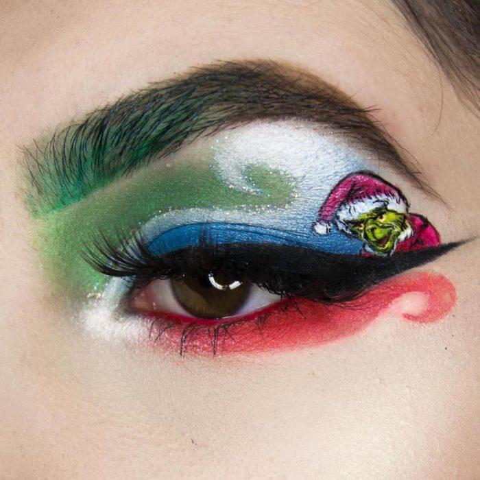 Maquillaje de ojos de El grinch