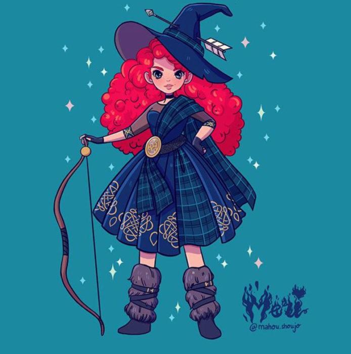 Merida con disfraz de bruja, ilustrada por Meri