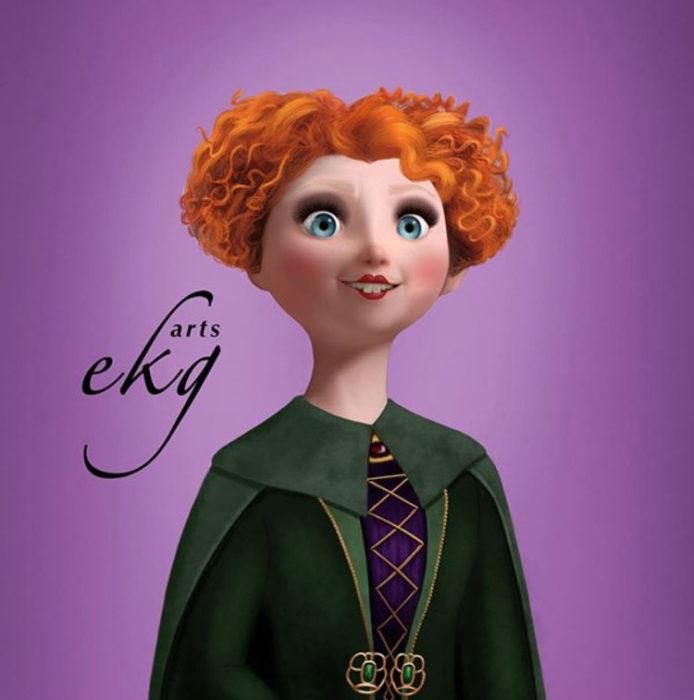 Merida convertida en bruja, usando un corset morado, con una capa verde oscuro encima, y su corte de cabello como el de Winnie de Hocus Pocus