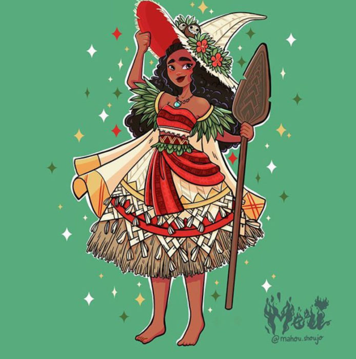 Moana con disfraz de bruja, ilustrada por Meri