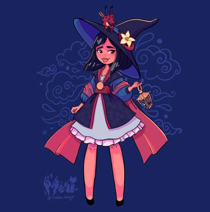 Mulán con disfraz de bruja, ilustrada por Meri
