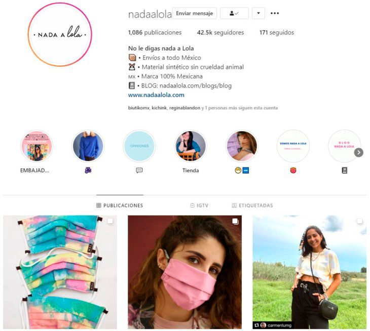 Perfil de instagram de la marca de ropa mexicana Nada a Lola