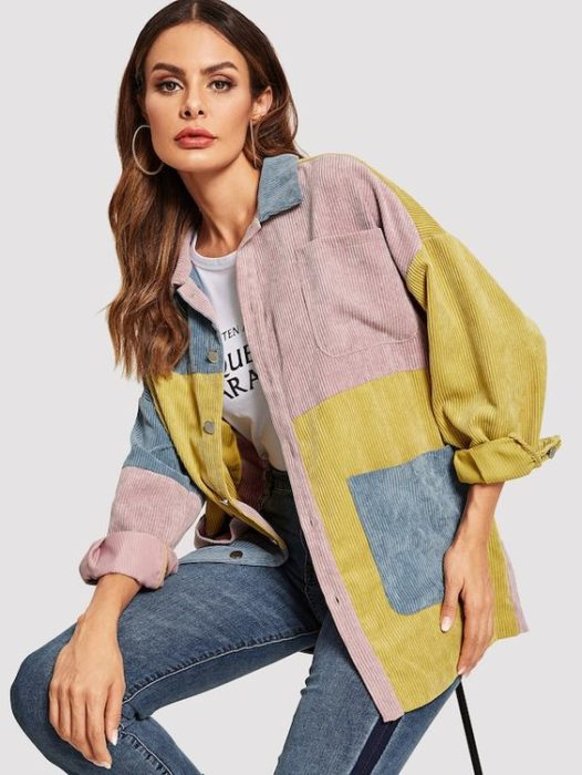 Corduroy outfit in different colored jacket, jeans and white blouse