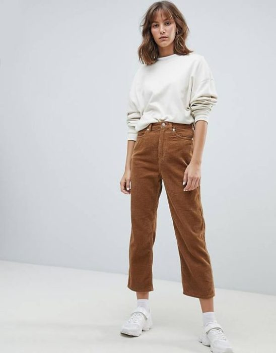 Corduroy outfit in camel straight pants and white round neck sweater