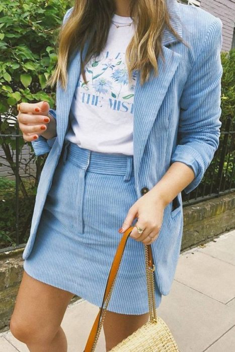 Corduroy outfit with jacket and skirt set in sky blue and white blouse