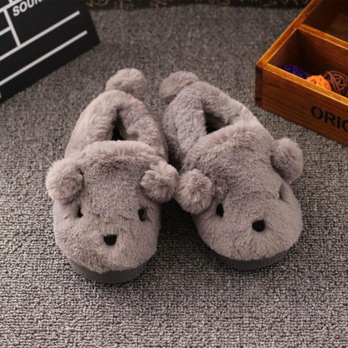 Cute, kawaii, cute gray bear slippers