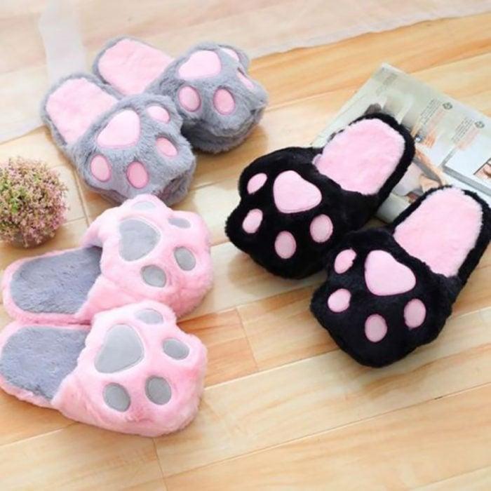 Cute, kawaii, cute cat footprint slippers