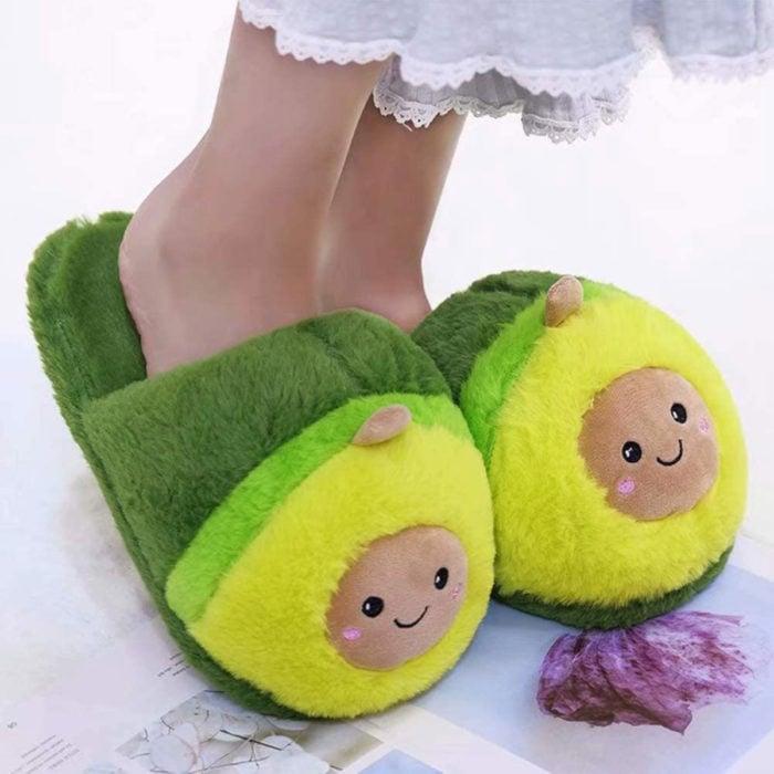 Cute, kawaii, cute avocado slippers