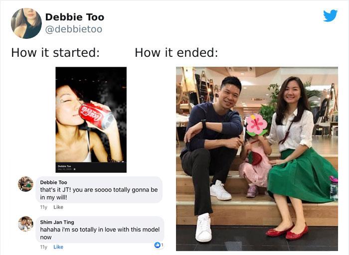 Parejas comparten en twitter su antes y después de iniciar su relación