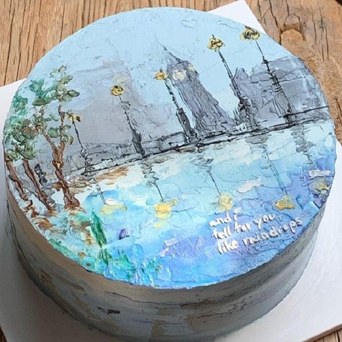 Pastel de la repostera Koike, inspirado en las noches lluviosas de Inglaterra