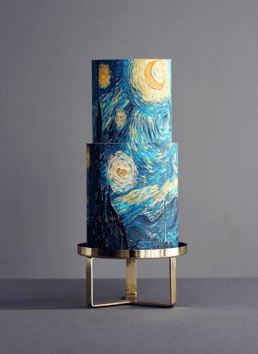 Pasteles de boda creativos y bonitos; La noche estrellada de Vincent Van Gogh