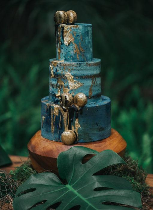 Pasteles de boda creativos y bonitos; verde elegante