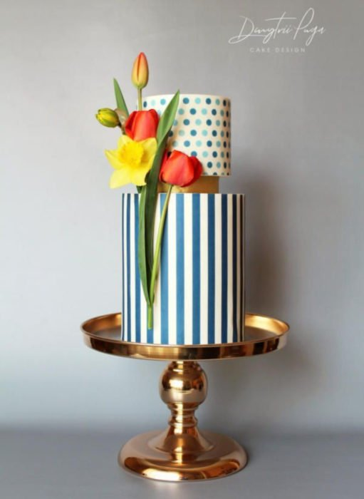 Pasteles de boda creativos y bonitos; polka dots, puntos y rayas