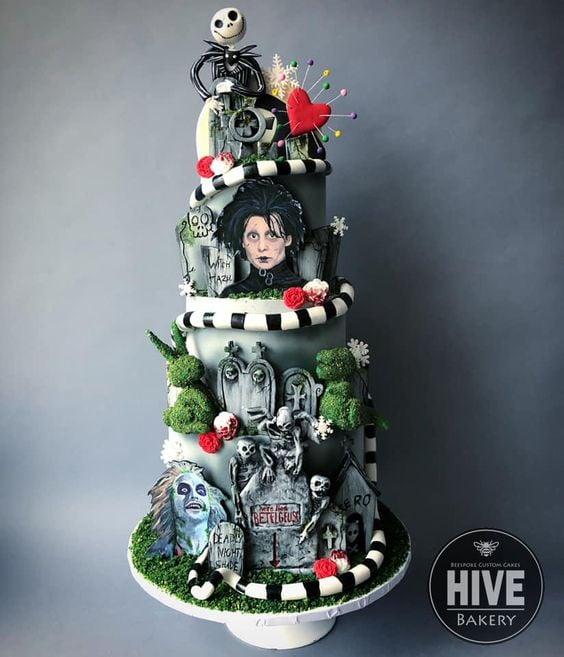 Pastel inspirado en Tim Burton