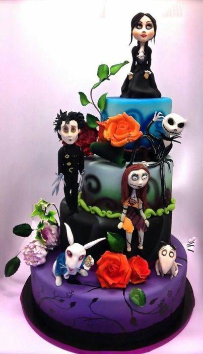 Pastel inspirado en personajes de Tim Burton